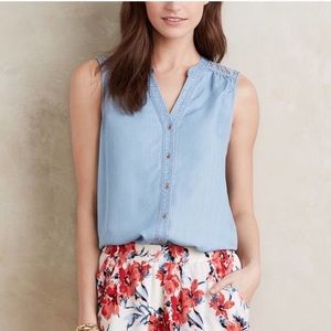 Anthropologie Tops - Anthropologie Holding Horses Chambray Crochet Top